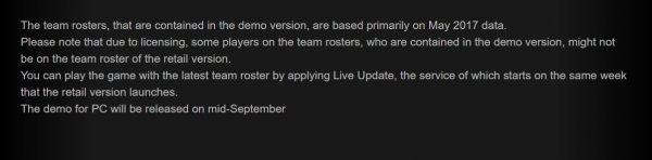 Konami memastikan bahwa demo PES 2018 untuk PC baru akan tersedia pertengahan September nanti. Besar kemungkinan, setelah PES 2018 dirilis secara resmi.