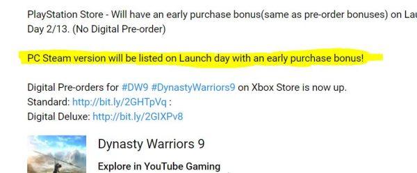 dynasty warriors 9 pc