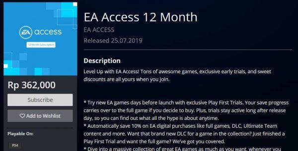 ea access 1 tahun