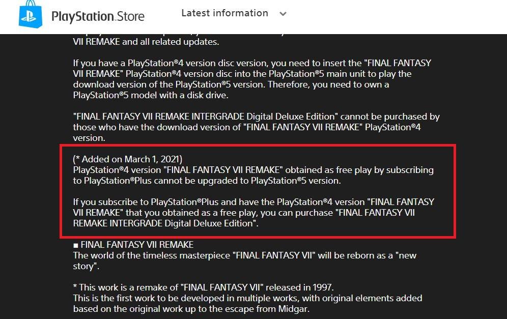 final fantasy vii remake ps plus 1